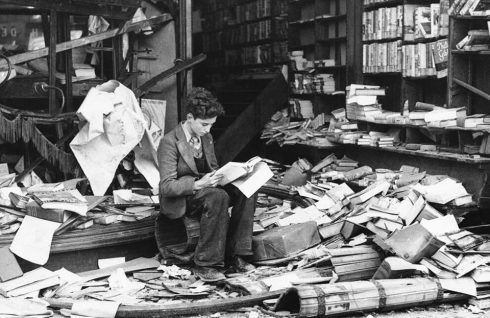 Bombed bookshop, London