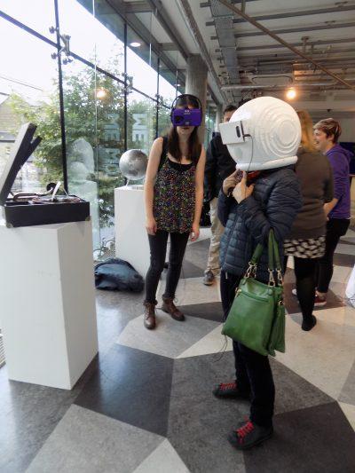 Wearing VR headset